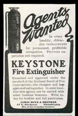 Fire Extinguisher 1905 Small AD Keystone Agents Wanted James Boyd Phil PA