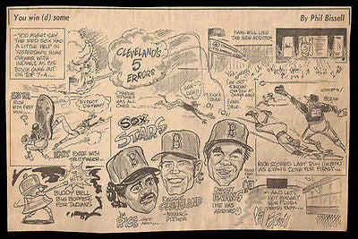 Rice Evans Cleveland Sox Stars Sports Cartoon Newspaper Clipping