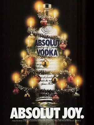 Absolut Joy 1988 Decorated Bottle AD Absolut Vodka Christmas Tree Distillery