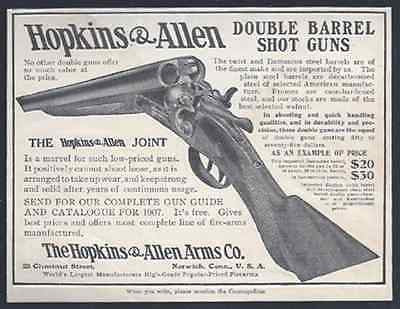 Double Barrel Shot Gun Hopkins & Allen 1907 Photo AD - Paperink Graphics