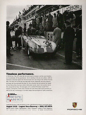 1998 Raceing AD Porsche 1600cc RSK  Wins 1958 LeMans Race Photo Illustration AD - Paperink Graphics