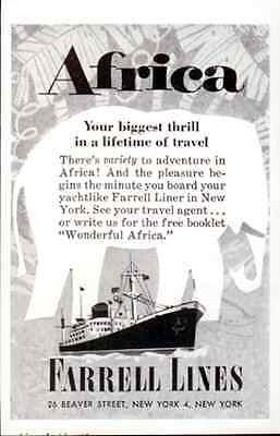 Elephant Art Graphics Farrell Ocean Liner to Africa 1958 Hotel Travel Tourist AD