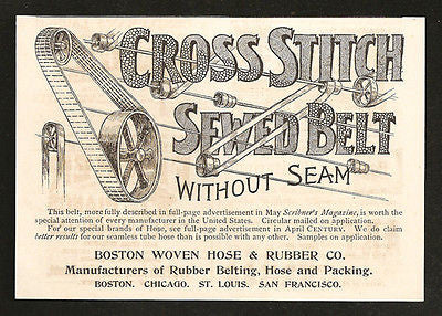 Machine Belt Boston Woven Hose & Rubber 1893 Print AD - Paperink Graphics