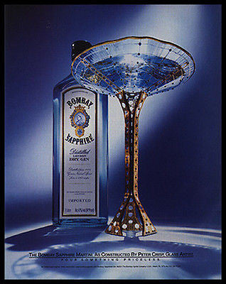 Bombay Sapphire Dry Gin Art Glass Artist Peter Crisp Bombay Sapphire 2001 Distillery Ad - Paperink Graphics