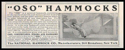 Hammock Ad 1905 Elegant Lady Outdoor Summer Ease National Hammock OSO - Paperink Graphics