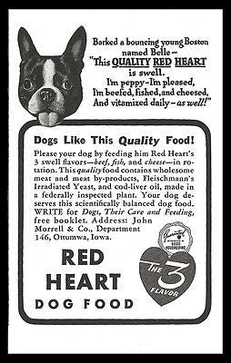 Boston Terrier AD 1939 Puppy Belle Red Heart Dog Food AD - Paperink Graphics