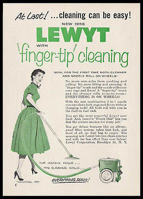 Lewyt Introduces Bagless Vacumn on Wheels 1955 Photo Ad - Paperink Graphics