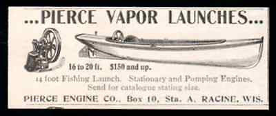 Fishing Launch Boat AD 1898 Pierce Engine Co. Racine Wisconsin