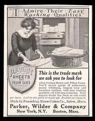Laundry Day Basket Pequot Bed Sheets Pillow Cases Naumkeag Cotton 1900 AD