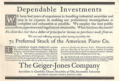 Geiger Jones Company Canton Ohio Stock Investments Industrial Securities 1908 AD - Paperink Graphics