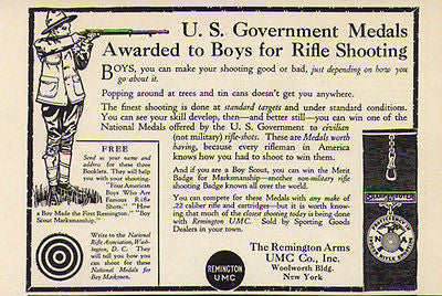 Antique Ad Boys Rifle Sharpshooter Medals 1917 Remington Arms UMC Co. NY
