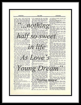 Thomas Moore Love's Young Dream Quote Dictionary Art Print Mixed Media  quote012