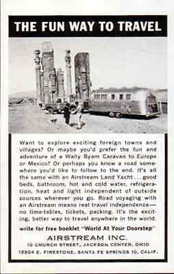 Airstream Land Yacht Trailer Ancient Ruins 1965 Hotel Travel Tourist AD - Paperink Graphics