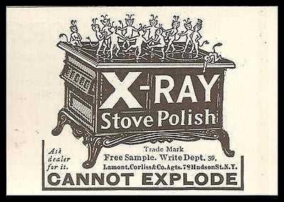 Devils Dance Stove Polish X-ray Cannot Explode 1908 Print Ad - Paperink Graphics