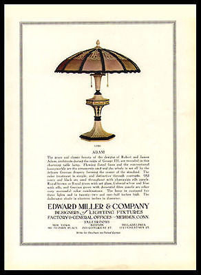 "Antique Lamp Lighting AD Edward Miller Arts Crafts Lamp 1917 Photo Ad ""ADAM"""