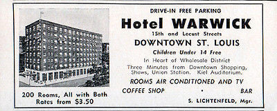 Hotel Warwick St Louis Missouri 200 Rooms w Bath AC TV 1956 Travel Tourism AD - Paperink Graphics