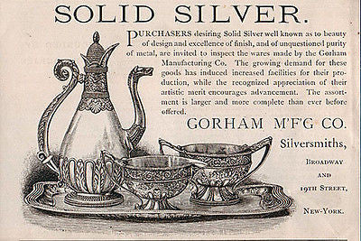 Antique Ad Gorham Coffee Service Solid Silver Ornate 1891 a25 Home Decor - Paperink Graphics