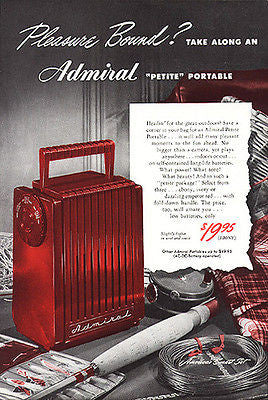 Admiral Vintage Radio Petite Portable RADIO Fishing 1948 AD