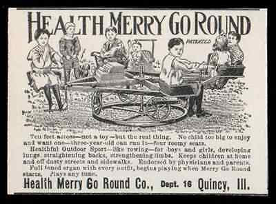 Childrens Toy Health Merry Go Round 1907 Quincy Illinois Small Outdoor Play AD - Paperink Graphics