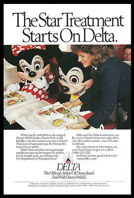 Delta Stewardess 1991 Official Disneyland Airlines Mickey Mouse Minnie Mouse AD - Paperink Graphics