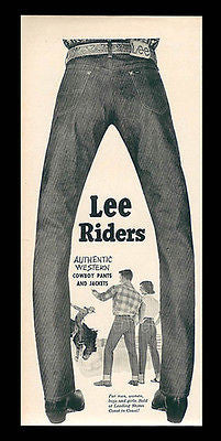 LEE Riders Authentic Western Cowboy Jeans 1952 AD