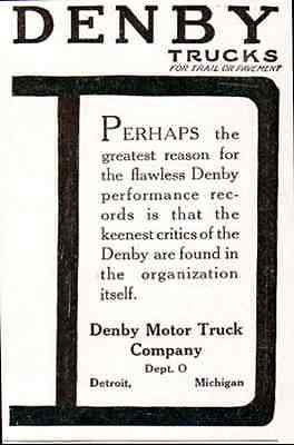 Denby Trucks Trail or Pavement 1917 Transportation  Motor Truck Small AD - Paperink Graphics