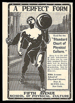 Bodybuilder 1901 Ad 5th Ave School of Physical Culture NY Muscle Man - Paperink Graphics