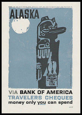 Alaska Totem Pole Woodcut Style 1959 Print Ad Ethnic Art Bank of America - Paperink Graphics
