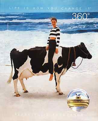 Holstein Cow Beach Ocean Waves Perry Ellis Perfume 1994 AD