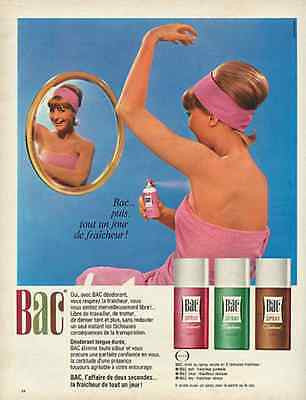1966 Mirror Image Beauty BAC Spray Deodorant French Text Pink Bathroom Art Ad