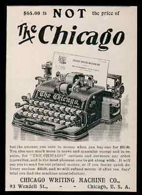 Typewriter Chicago Typewriter Writing Machine Small Ad 1902 Typing