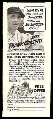 Frank Crosetti Yankee Uniform Shortstop 1937 Photo Ad Aqua Velva Shave
