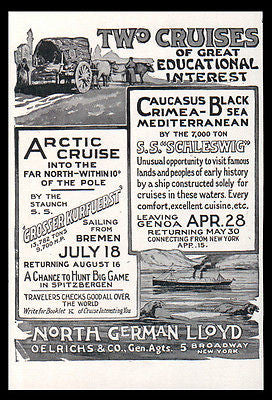 Cruises 1911 AD Arctic Black Sea Crimea North German Lloyd Ships Travel Illus AD - Paperink Graphics