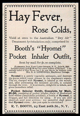 Antique Quackery Medicine 1896 AD Antiseptic Cure Hay Fever Booth's Hyomei Pocket Inhaler - Paperink Graphics