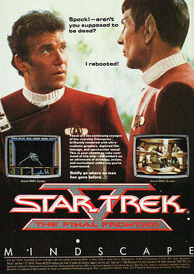Star Trek AD Captain Kirk Spock Mindscape Game Ad 1989 Graphic Arts Advert