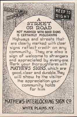 Street Signs Mathews Sign White Plains NY 1919 Print AD