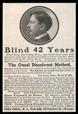 Blindness Cured AD 1902 Quack Medicine Dissolvent Method No Knife  Oneal Chicago