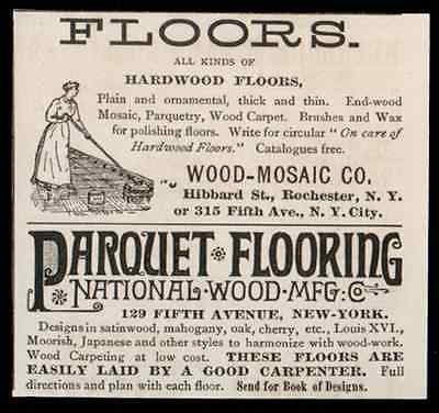 1893 Hardwood Floors Small AD Wood Mosaic Parquet Flooring National Wood - Paperink Graphics