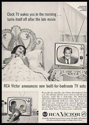 RCA Victor Vintage Ad Built for BEDROOM TV Television 1959 Photo Illustrated AD