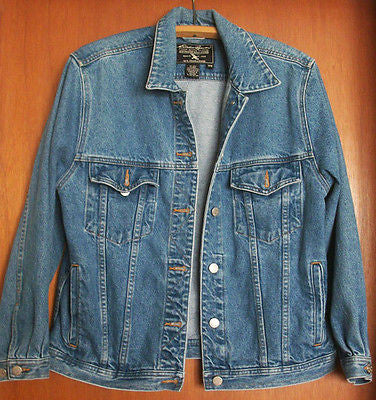 Jean Jacket Womens Medium Blue Jean Denim Cotton Button Down Eddie Bauer