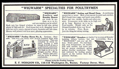 Poultry Houses AD 1909 Wigwarm Brooder Houses Hodgson Boston Poultry Farming AD