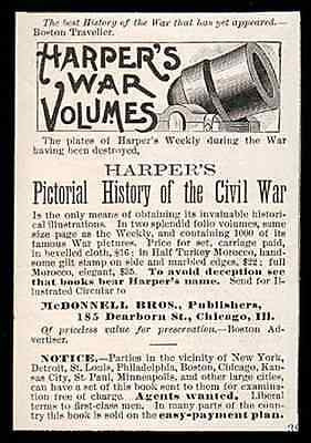 Harpers Civil War Volumes Pictorial History 1889 Promo Advertisement - Paperink Graphics