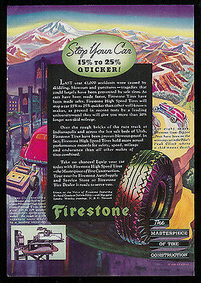 Firestone Tires Antique Ad 1936 Travel Industry Mountains Graphic Arts