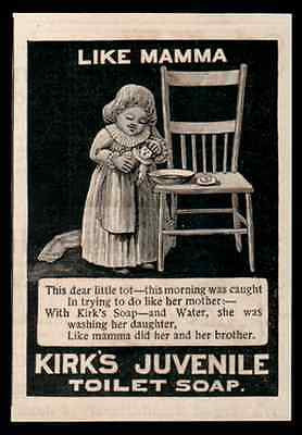 Doll Dear Little Tot Washes Dolly Kirks Juvenile Toilet Soap 1893 AD Toy Doll