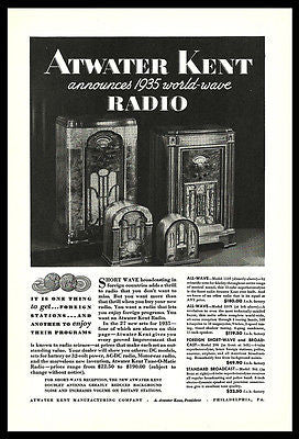 Deco Design Radios 1934 AD Atwater Kent Advertising Short Wave Broadcasting