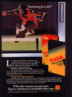 Edwin Moses Track Champion 1984 Photo Ad Kodak Video Cassette - Paperink Graphics