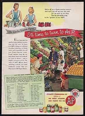 Fruits & Vegetables A&P Interior Market 1945 Photo AD - Paperink Graphics
