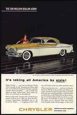 Chrysler Automobile Ad New Yorker Deluxe Nugget Gold and Platinum Vintage 1955 - Paperink Graphics