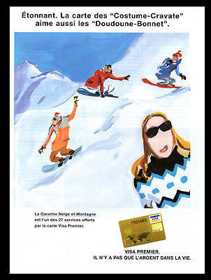 Ski  Mountain Skiing 2000 French Text Visa Premier Sports Travel Skiing Art AD - Paperink Graphics