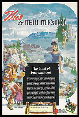 New Mexico Pueblo Indian Dance 1949 Willard Andrews Print Ad